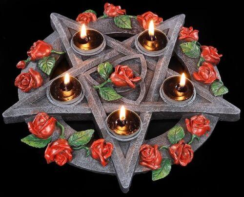 Pentagramm mit Rosen Teelichthalter Deko Kerzenhalter Gothic