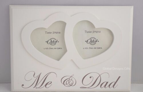 Me and Dad Twin Heart Photo Frame Gift for Dad Fathers Day Wood Cream F1217D