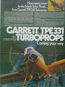Details about 8/1976 PUB GARRETT TPE331 TURBOPROP AGRICULTURAL AIRCRAFT  MARSH TURBO THRUSH AD