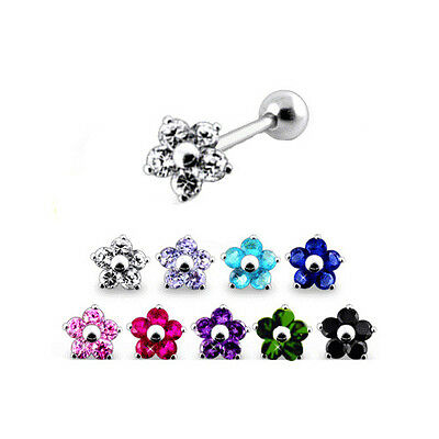 316L Surgical Steel Ear Cartilage Helix Tragus Piercing 8.5mm Flower 17G