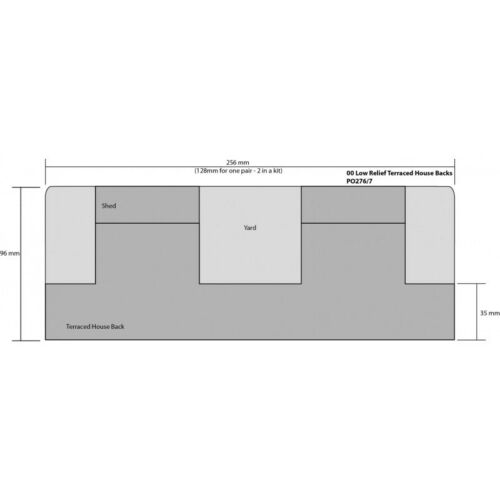 niedrig Relief Reihenhäuser Haus Rückseiten Stein OO//HO Karte Set Metcalfe po277