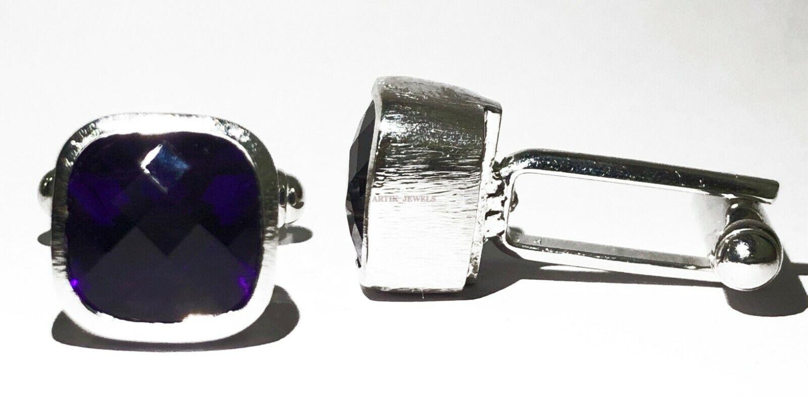 Details about  /925 Sterling Silver Natural Amethyst /& Cz Gem Stone Cuflink /& Button Tuxedo