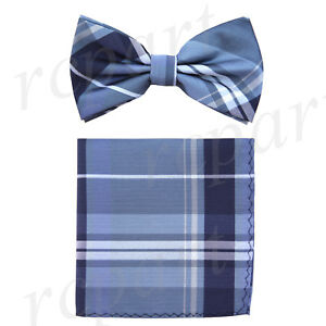 New Men's micro fiber Pre-tied Bow tie & hankie blue plaids & checkers formal