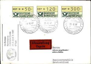 3-ATM-Automatenmarken-Schiffspost-Brief-Eilzustellung-Ship-Schiff-MS-EUROPA-1987