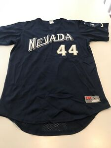 brand new d34c8 313c8 Details about Game Worn Used Nevada Wolfpack Baseball Jersey Nike Size L #44