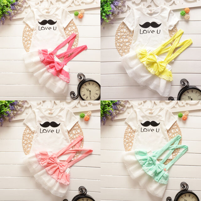 Fashion Baby Girls Mustache Top+Lace Bow Suspender Skirts Party Dress For 0-3Y