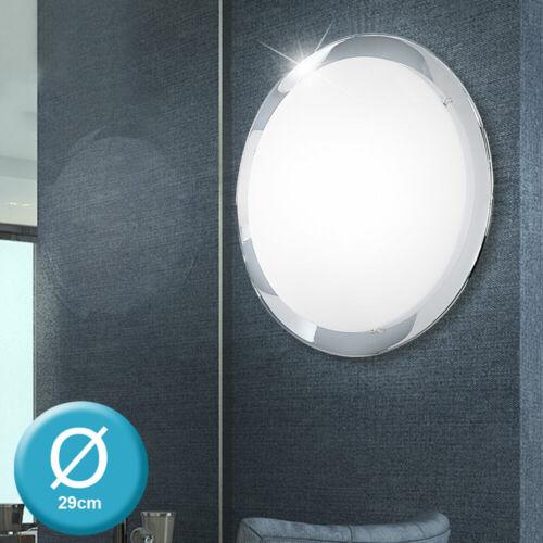 Design LED Decken Leuchte Chrom Wohn Ess Zimmer Wand Beleuchtung Glas Schirm