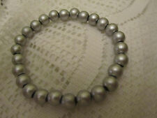 Metallic Paint Silver Plastic Elasticated Bead Bracelet