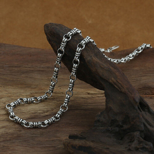 """Genuine Solid 925 Sterling Thai Silver O Loop Knot Chain Men Necklace18/""""-26/"""""""