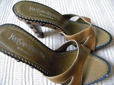 1c8940822b0 Details about Yves Saint Laurent Rive Gauche Brown Leather Wood Stud Sandal  37
