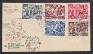"""Vaticano 1951 """"Calcedonia"""" la serie su FDC Venetia n.118 non viaggiata."""