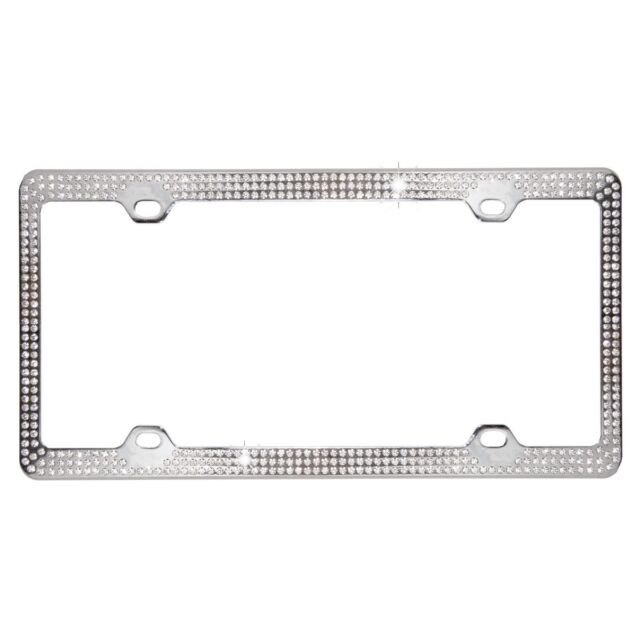 Crystal Clear Rhinestone 3 Row Metal Car License Plate Frame Bling ...