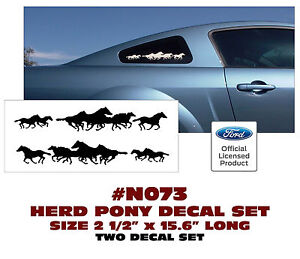 "N073 FORD MUSTANG - HERD PONY DECAL SET - TWO DECALS - COLORS - 2.5"" TALL"