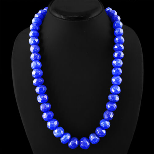 Best 745.00 cts Earth mined riche saphir bleu à facettes Perles Collier Strand