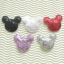 """US SELLER - 60 pcs x 1.5"""" Padded Sequined Felt MOUSE Appliques for Mickey ST543D"""