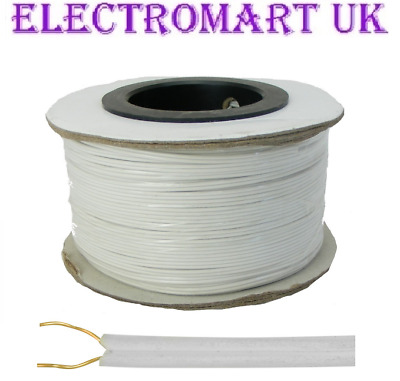BELL WIRE FLAT 2 SOLID CORE FLEXIBLE DOORBELL INTERCOM PHONE CABLE 100M DRUM