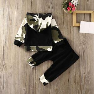 2pcs-Bimbo-Neonato-Bambino-Mimetica-con-Cappuccio-Top-Pantaloni-Completi-Vestiti