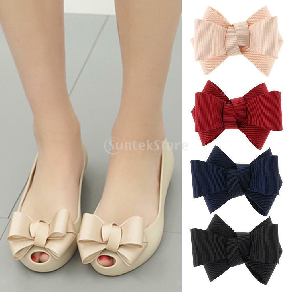 Prettyia 2pcs Ribbon Bow Shoes Clips Shoe Decorative Shoe Clip Charms Buckle