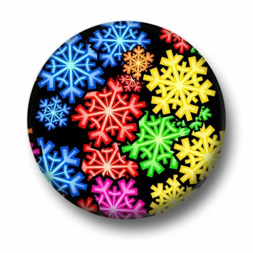 Snowflakes 1 Inch 25mm Pin Button Badge Santa Claus Father Christmas Snowing
