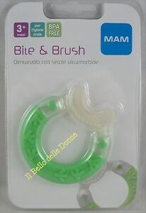 MAM BITE & BRUSH teething ring with soft bristles months 3+ green teether green
