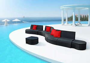 Divano Nero Cuscini : Divano rattan nero cuscini e tavolino salotto arredo giardino