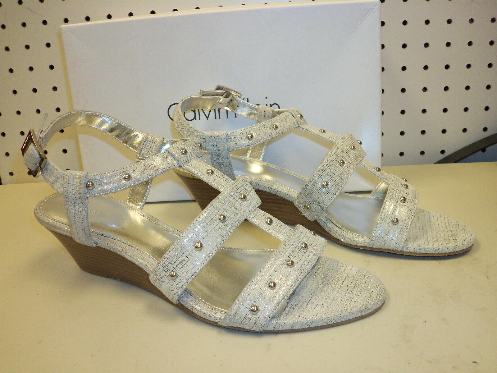 Calvin Klein NEU Damenschuhe Eviie Metal Scratch Silver 10 M Sandales Schuhes Ankle Stra