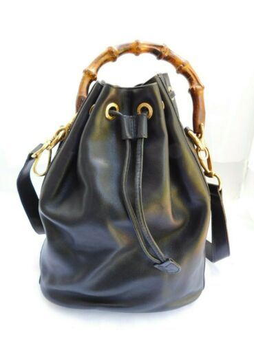 VINTAGE Gucci Soft Black Leather Bamboo Handle Buc