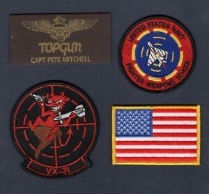 Captain-Pete-MAVERICK-Mitchell-TOP-GUN-2-New-Movie-NAVY-VX-31-Squadron-Patch-Set