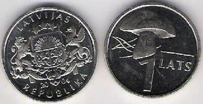 Latvia 1 Lats 2004 Mushroom Pilz KM 67 UNC FROM MINT ROLL