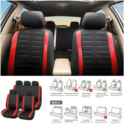 Polyester Universal Front Rear Seat Cover Headrest For Car Truck SUV Van