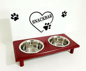 Katzenbar!   Bol pour chat, à nourrir, 2 bols, blanc / rouge.   (73o)
