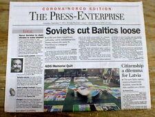 1991 headlne newspaper SOVIET UNION frees BALTIC STATES Latvia LITUANIA Estonia