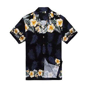 Men-Tropical-Hawaiian-Aloha-Shirt-Cruise-Luau-Beach-Party-Navy-Hibiscus-Leaf