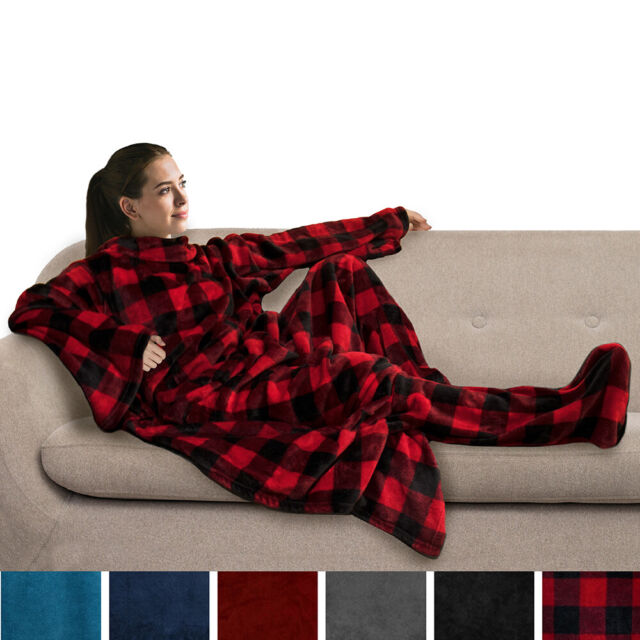 SLEEVED COMFORTER COVER COLOUR CHOICES SOFT NEW BLANKET SNUGGLE FLEECE