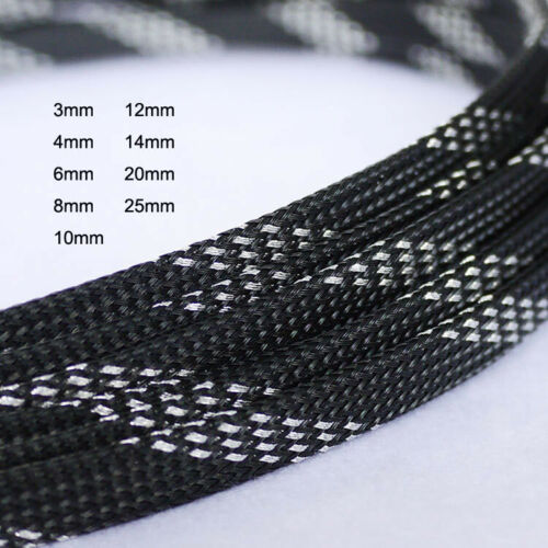 3mm to 25mm Black+Slive Flame Retardant Expandable Braided Cable Sleeving