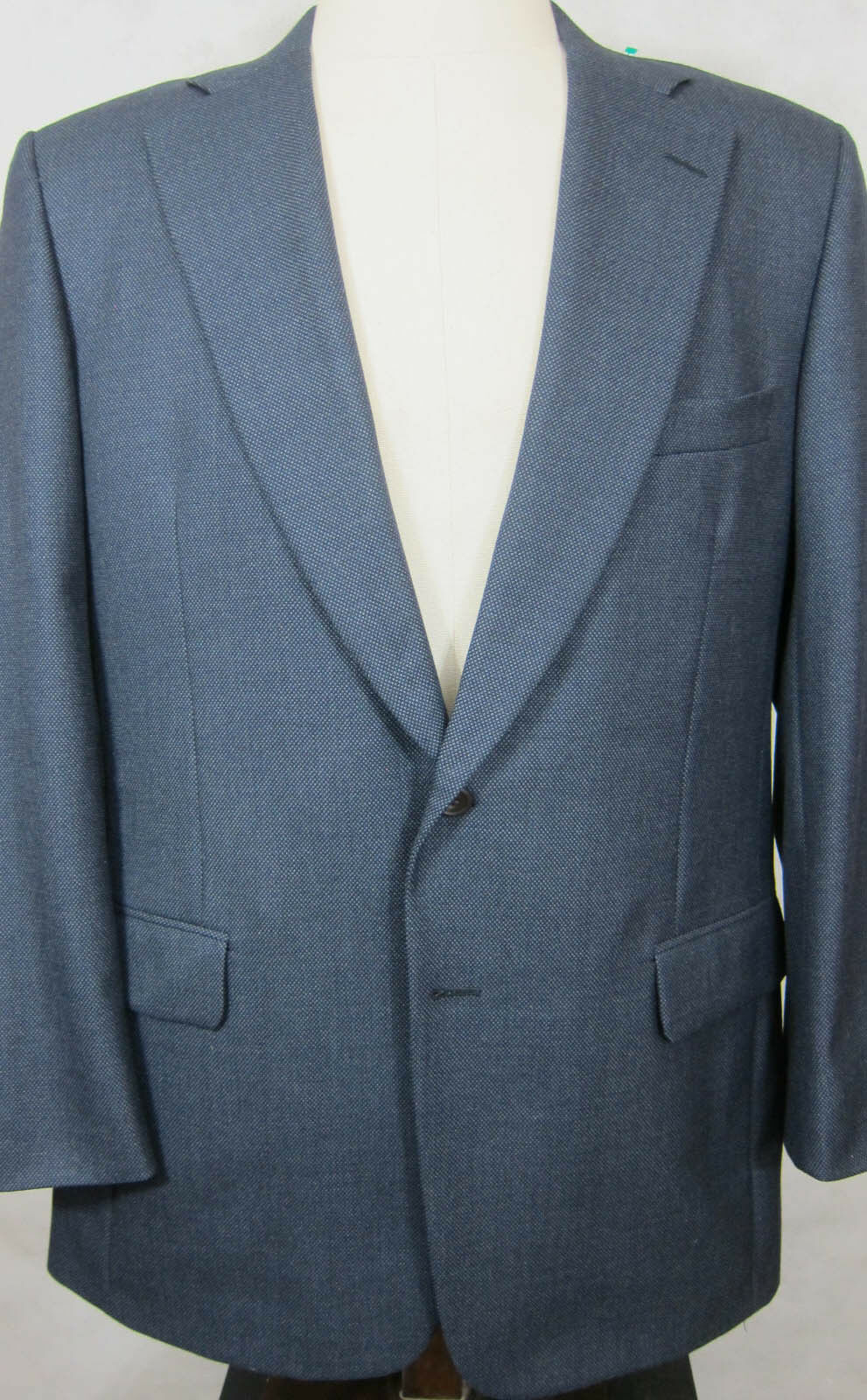 PRISTINE 2195 Paul Stuart II Blau Dobby English Wool Full Canvas Suit 43L 37W