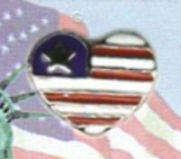 Usa American Flag Heart Lapel Pin In Gold Plate, Great 4th Of July Gift
