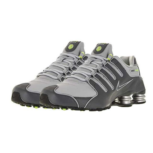 Nike Shox NZ Mens 378341 009 Dark Wolf Grey Volt Leather Sneakers * DOUBLE BOXED
