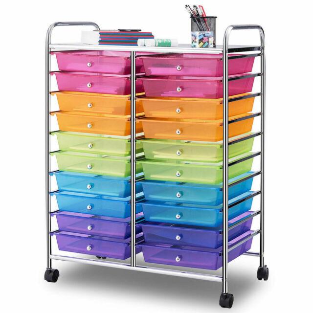 20 Drawers Rolling Cart Storage Mutli Color  Scrapbook Paper Studio Organizer