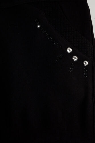 Damen Thermo Treggings Winter Plus Size Hose mit Fell Schlupfhose Warme Schwarz