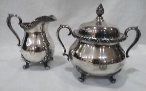 Vintage-Wilcox-Du-Barry-Floral-Silver-Plate-Creamer-amp-Covered-Sugar-O-Monogram