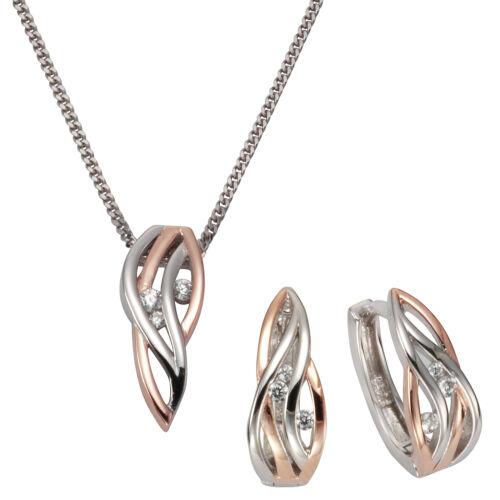 ZEEme Jewelry Set Anhänger Kette Creolen 925 Sterling Silber Zirkonia Damen NEU