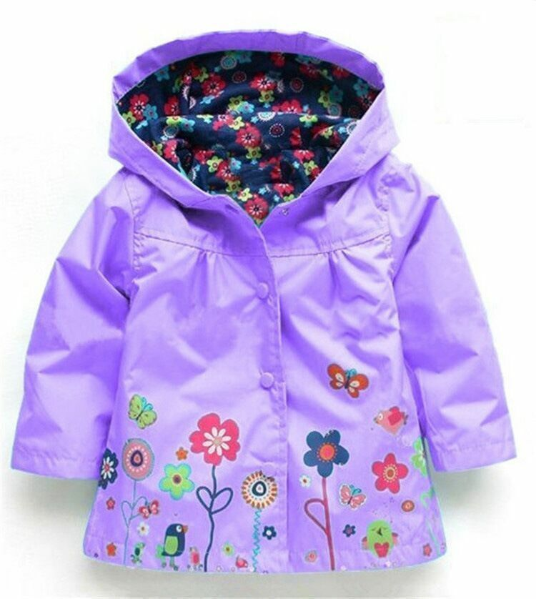 d634aaa14 Kids Baby Girls Rain Jacket Long Sleeve Floral Hoodied Coat Jacket 2 ...