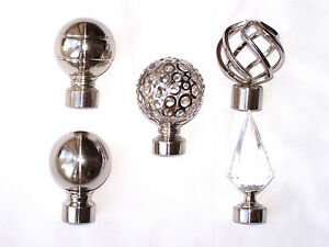 19mm Stainless Steel Curtain Pole Finials Twist Cage Crystal Spear Leaf Swirl