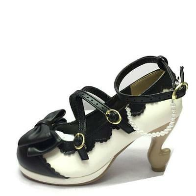Womens Cosplay Princess Lolita Block Heels Sweet Bow Tie Mary Janes Buckle Shoes
