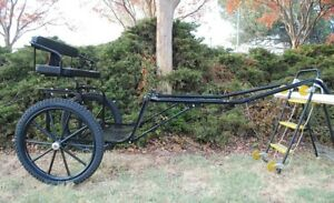"""EZ Entry Horse Cart-Pony&Full Size w/Steel """"C"""" Springs w/Curved Shafts 23"""" Tires"""