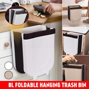 Details about 8L Wall Mounted Folding Waste Bin Kitchen Cabinet Door  Hanging Trash Can Bin