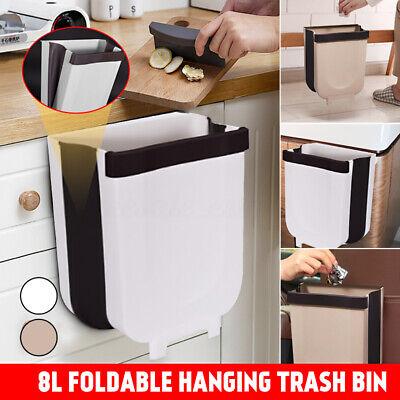 9L Folding Kitchen Bath Waste Bin Trash Can Basket Hanging Over The Cabinet Door