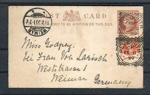Ganzsache-Grossbritannien-Half-Penny-ZuF-1-2-Penny-Plymouth-Weimar-b4711