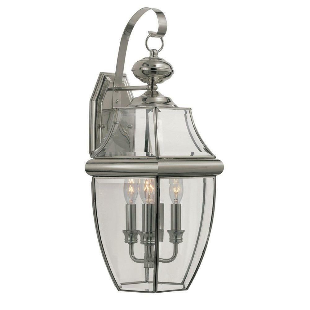 Iluminación de aire Bel Stewart de 3 Luz de Lámpara de Parojo Linterna al aire libre de níquel cepillado